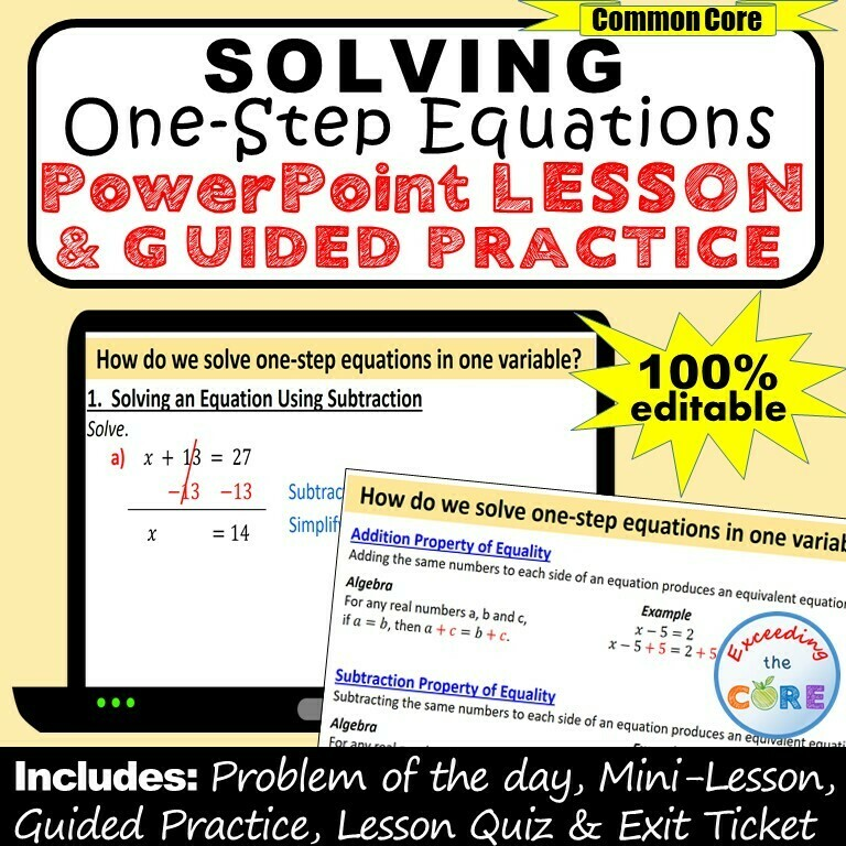 SOLVING ONE-STEP EQUATIONS PowerPoint Lesson & Guided Practice