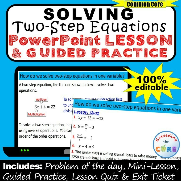 SOLVING TWO-STEP EQUATIONS PowerPoint Lesson & Guided Practice