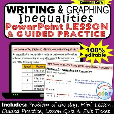 WRITING AND GRAPHING INEQUALITIES PowerPoint Lesson & Practice