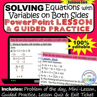 SOLVING EQUATIONS w/ VARIABLES ON BOTH SIDES PowerPoint Lesson