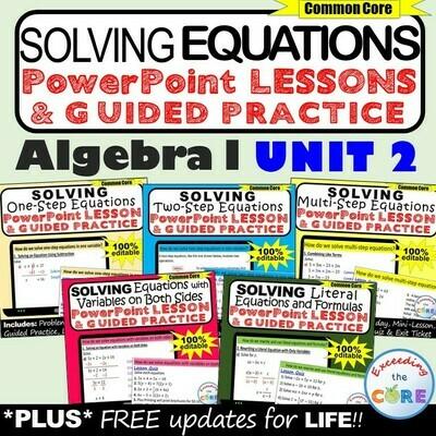 SOLVING EQUATIONS Lessons & Practice (Algebra 1 Curriculum)