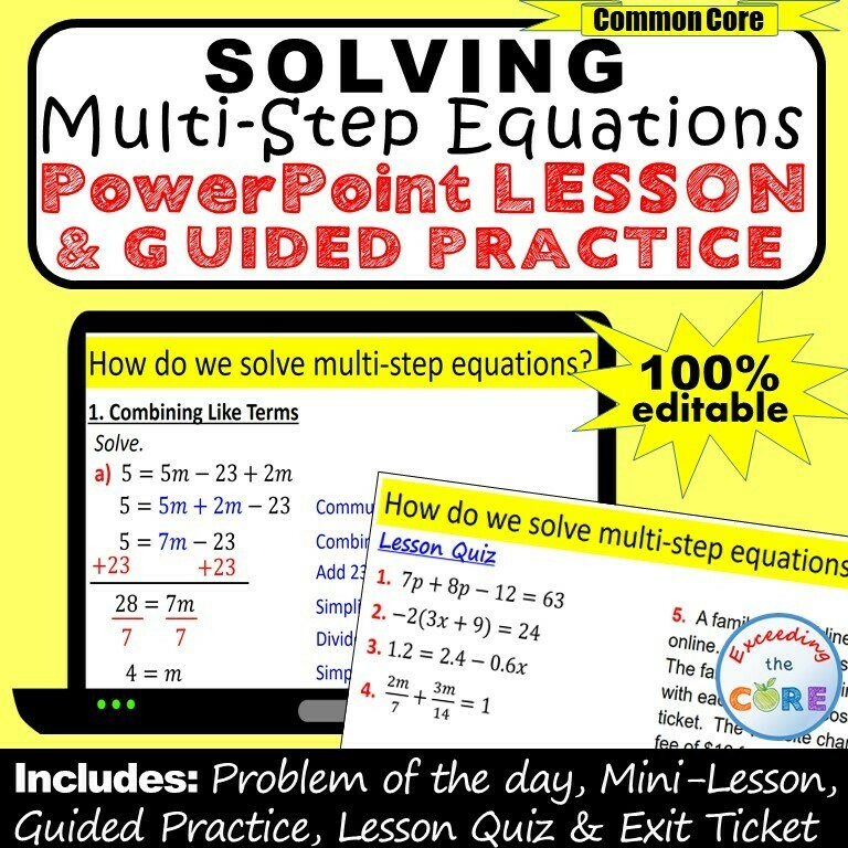 SOLVING MULTI-STEP EQUATIONS PowerPoint Lesson & Practice