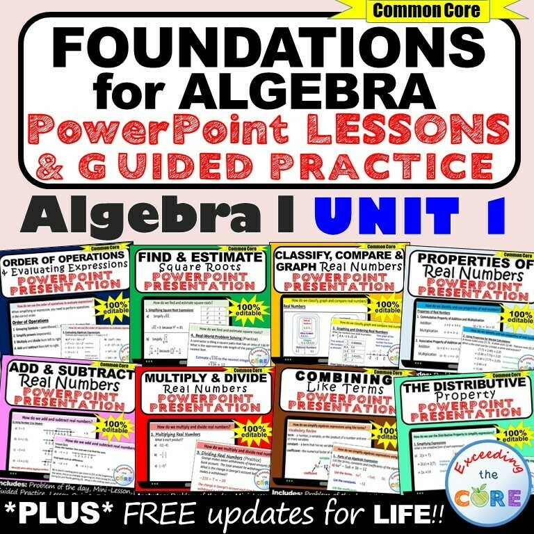 FOUNDATIONS FOR ALGEBRA Mini-Lessons & Practice - Algebra 1