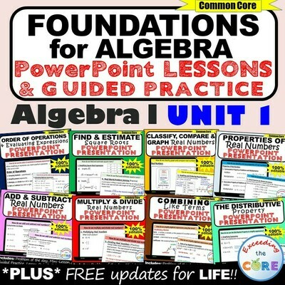 FOUNDATIONS FOR ALGEBRA Mini-Lessons & Practice - Algebra 1