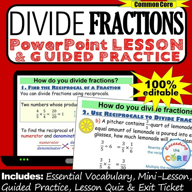 DIVIDE FRACTIONS PowerPoint Lesson & Guided Practice