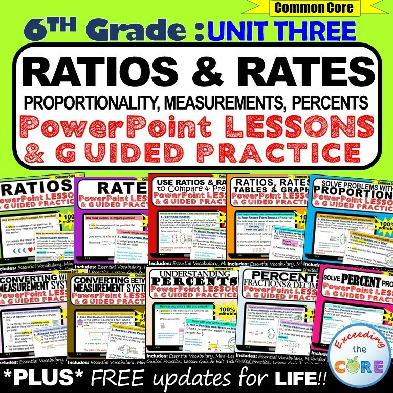 RATIOS & RATE UNIT : 6th Grade PowerPoint Lessons & Guided Practice BUNDLE