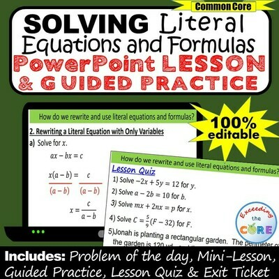 SOLVING LITERAL EQUATIONS & FORMULAS PowerPoint Lesson