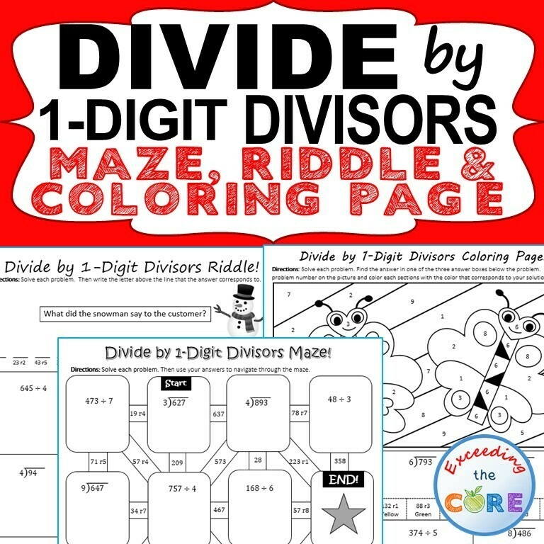 DIVIDE BY 1-DIGIT DIVISORS Maze, Riddle, Color by Number (Fun MATH Activities)