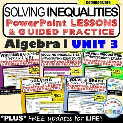 SOLVING INEQUALITIES Lessons & Practice (Algebra 1 Curriculum)