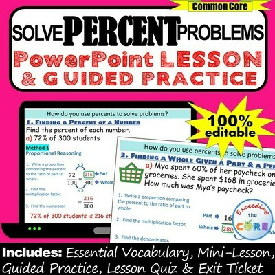 PERCENT PROBLEMS (percent, part, whole) PowerPoint Lesson & Guided Practice