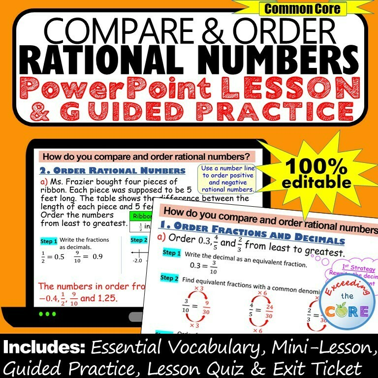 COMPARE & ORDER RATIONAL NUMBERS PowerPoint Lesson & Practice