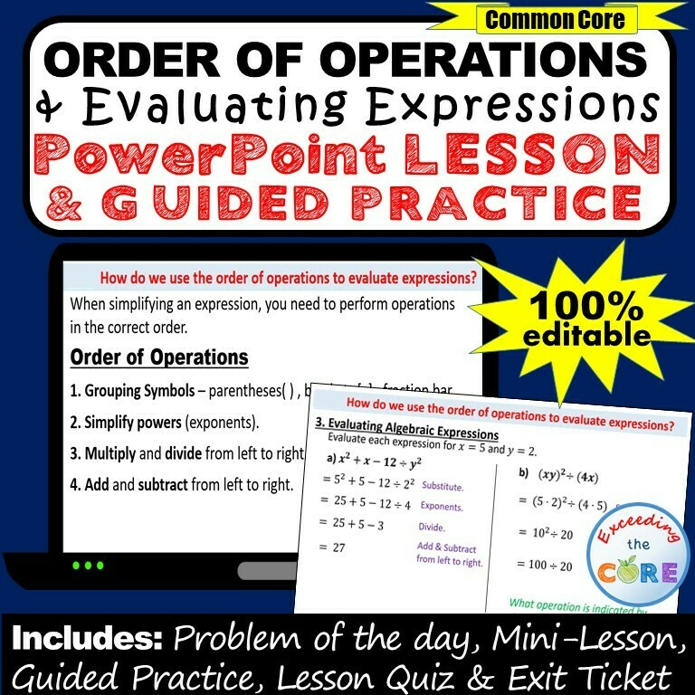 ORDER OF OPERATIONS & EVALUATING EXPRESSIONS PowerPoint Mini-Lesson & Practice