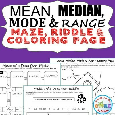 MEAN, MEDIAN, MODE, & RANGE Mazes, Riddles & Coloring Page by Number Activity