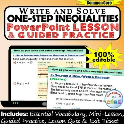 WRITE AND SOLVE ONE-STEP INEQUALITIES PowerPoint Lesson & Practice DIGITAL