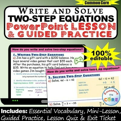 WRITE AND SOLVE TWO-STEP EQUATIONS PowerPoint Lesson & Practice DIGITAL