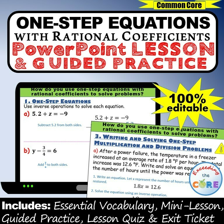 ONE-STEP EQUATIONS (rational coefficients) PowerPoint Lesson & Practice DIGITAL