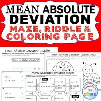 MEAN ABSOLUTE DEVIATION Mazes, Riddles & Color by Number Coloring Page Activity