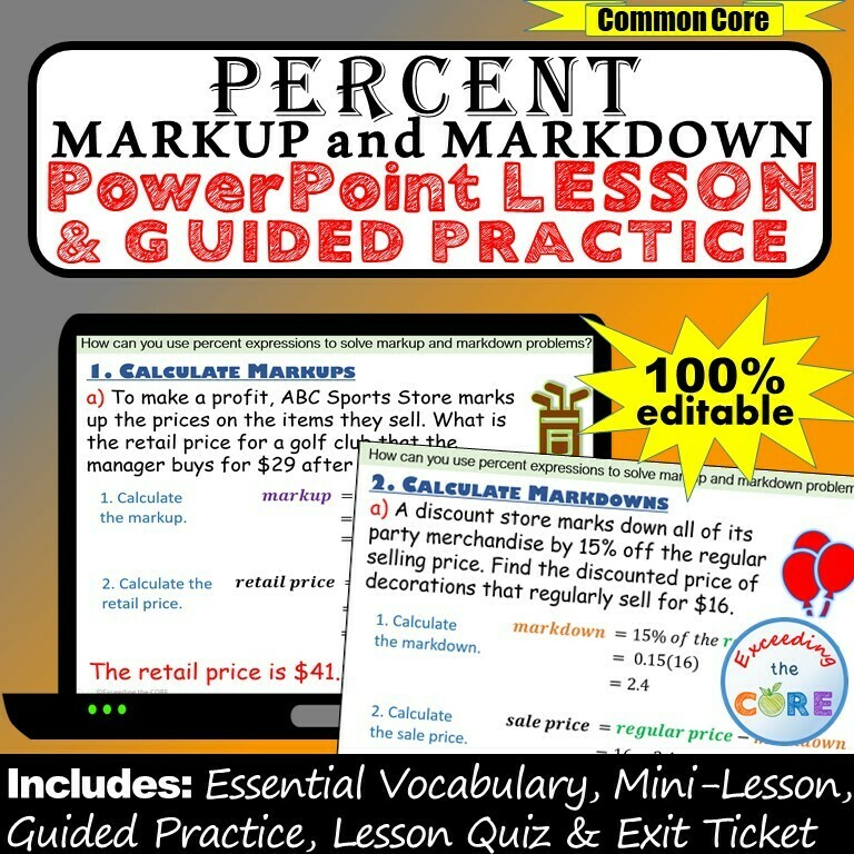 PERCENT MARKUP AND MARKDOWN PowerPoint Lesson AND Guided Practice - DIGITAL