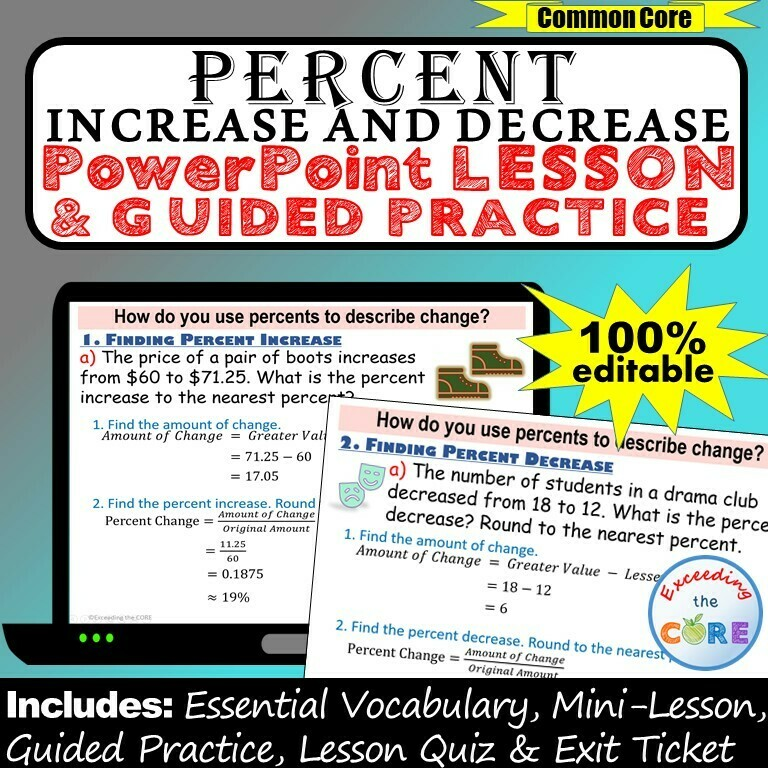 PERCENT INCREASE AND DECREASE PowerPoint Lesson AND Guided Practice - DIGITAL