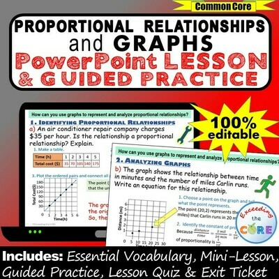 PROPORTIONAL RELATIONSHIPS & GRAPHS PowerPoint Lesson AND Practice - DIGITAL