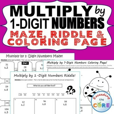 MULTIPLICATION BY 1-DIGIT NUMBERS Maze, Riddle, Color by Number (Fun MATH)