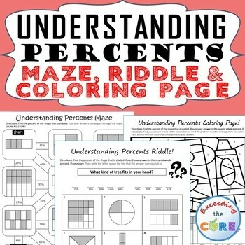 UNDERSTANDING PERCENTS Maze, Riddle, Coloring Page Math Activities