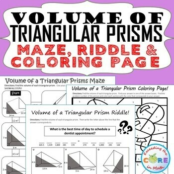 VOLUME OF TRIANGULAR PRISMS Maze, Riddle, Coloring Page Color by Number