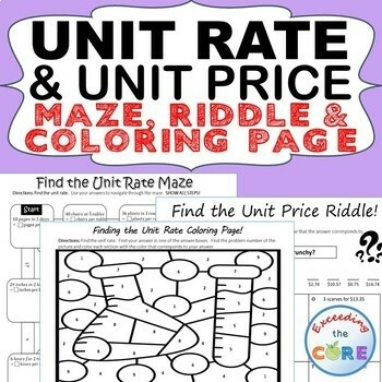 UNIT RATE AND UNIT PRICE Maze, Riddle, Color by Number Coloring Page Activities