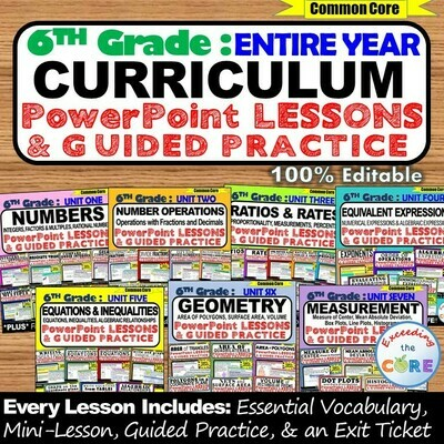 6th GRADE MATH CURRICULUM PowerPoint Lessons DIGITAL BUNDLE (Entire Year)