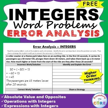 INTEGERS Word Problem - Error Analysis (Find the Error)