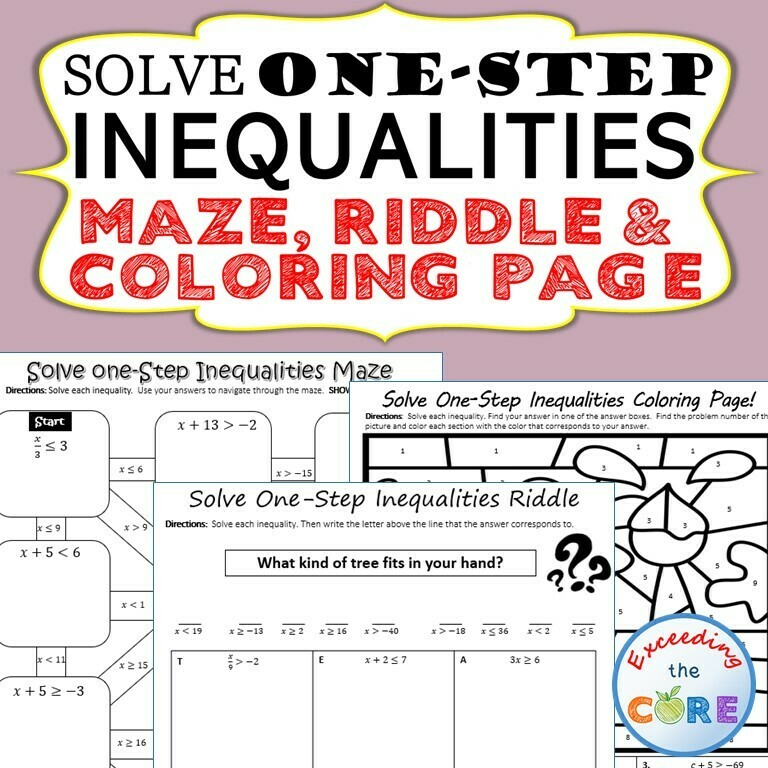 SOLVE ONE-STEP INEQUALITIES Maze, Riddle, Coloring Page Math Activities