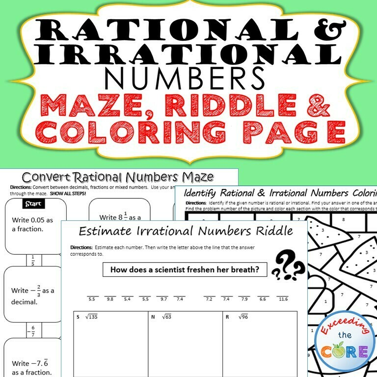 RATIONAL and IRRATIONAL NUMBERS Maze, Riddle, Coloring Page Math Activities