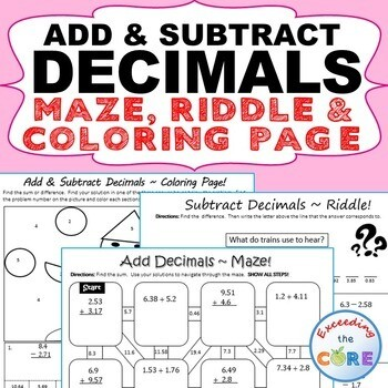 ADD AND SUBTRACT DECIMALS Maze, Riddle, Color by Number (Fun MATH Activities)