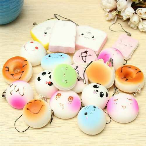 20PCS Mini Squishy Panda Bread Cake Buns Straps