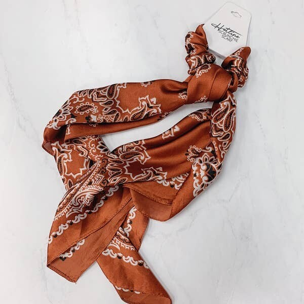 Hotline Hair Ties Rust Paisley Scrunchie Scarf
