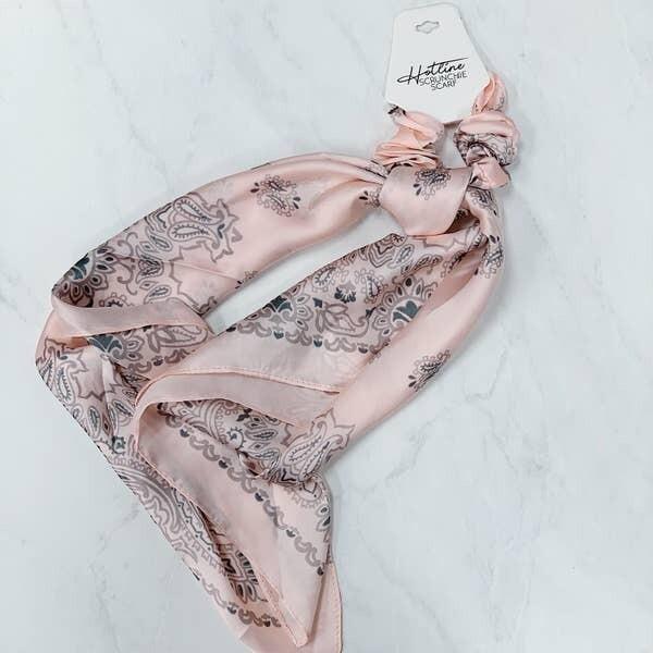 Hotline Hair Ties Pink Paisley Scrunchie Scarf