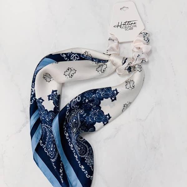 Hotline Hair Ties Blue Paisley Scrunchie Scarf