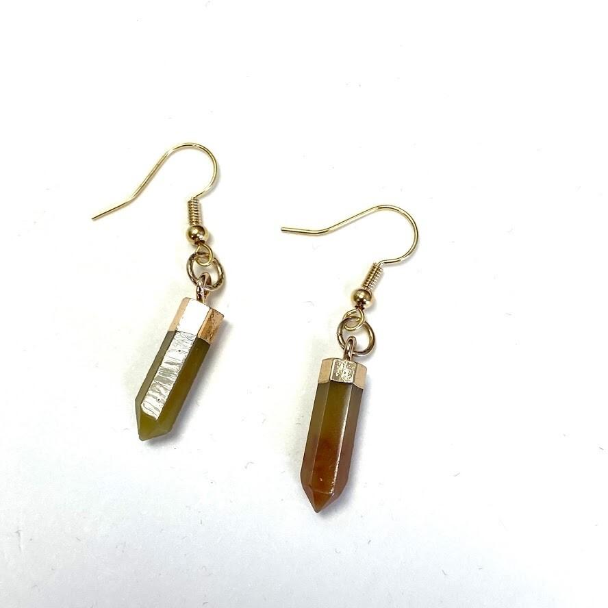 Drop Agate Earring - Brown