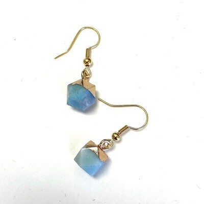 Round Agate Earring - Sky Blue