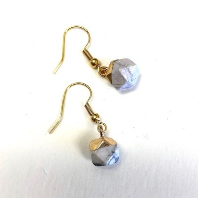 Round Agate Earring - Marble