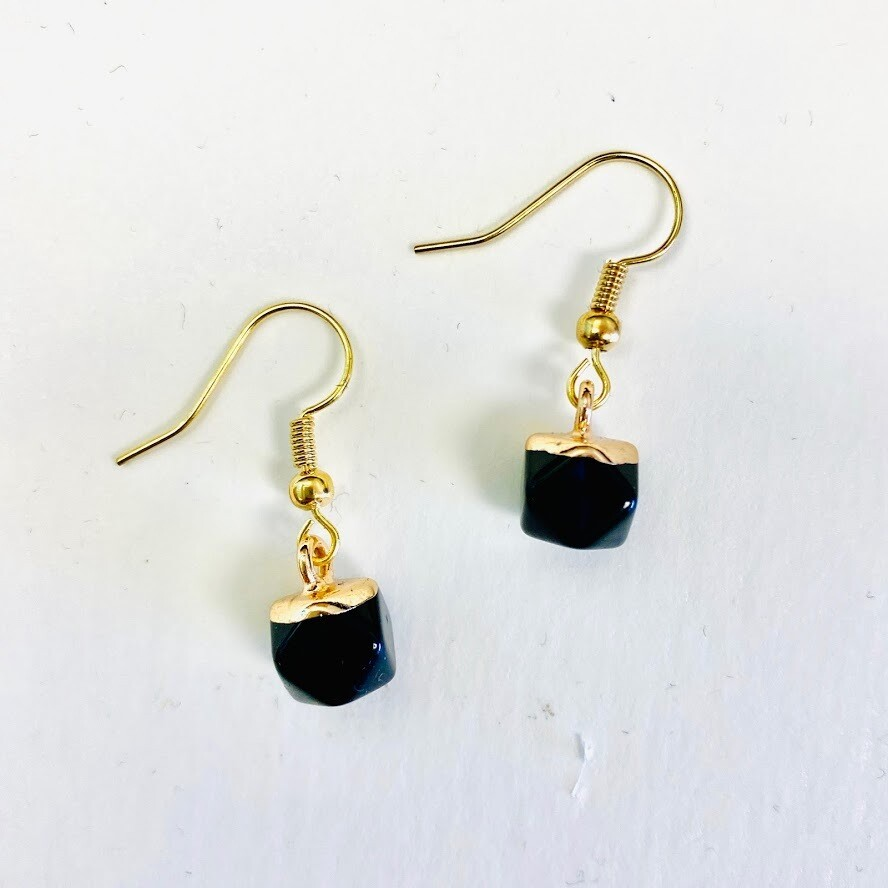 Round Agate Earring - Black