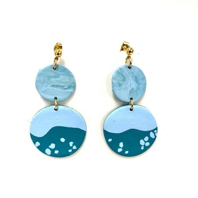 Ocean Polymer Clay Earrings - Dots