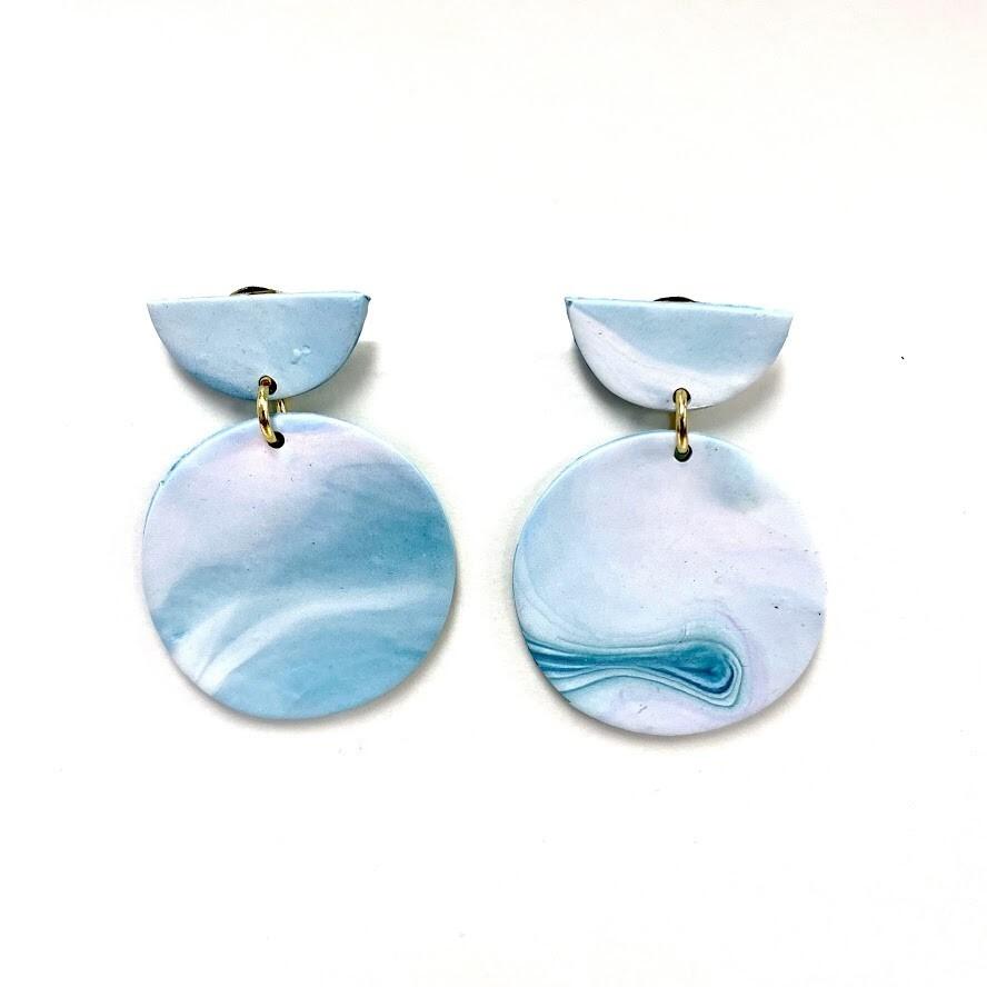 Ocean Polymer Clay Earrings - Half