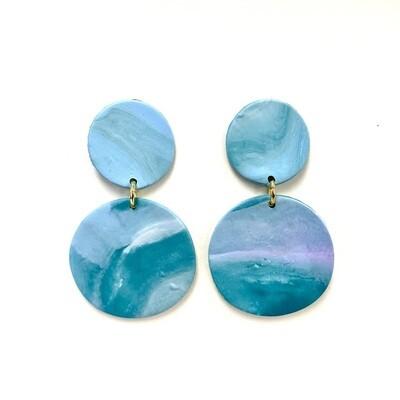 Ocean Polymer Clay Earrings - Swirl