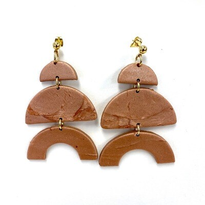 Copper Polymer Clay Earrings - Large