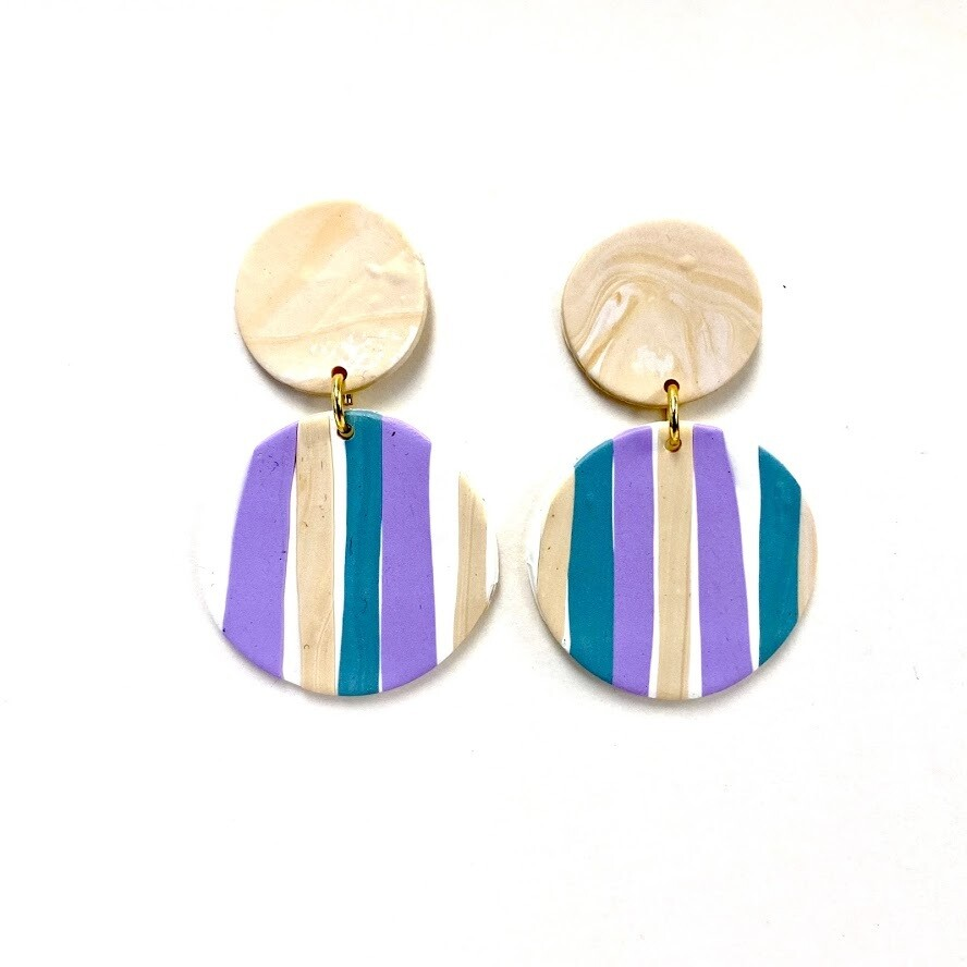 Dawson Polymer Clay Earrings - Stripes