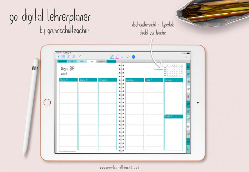 go digital Lehrerplaner 19/20 Deckblatt türkis