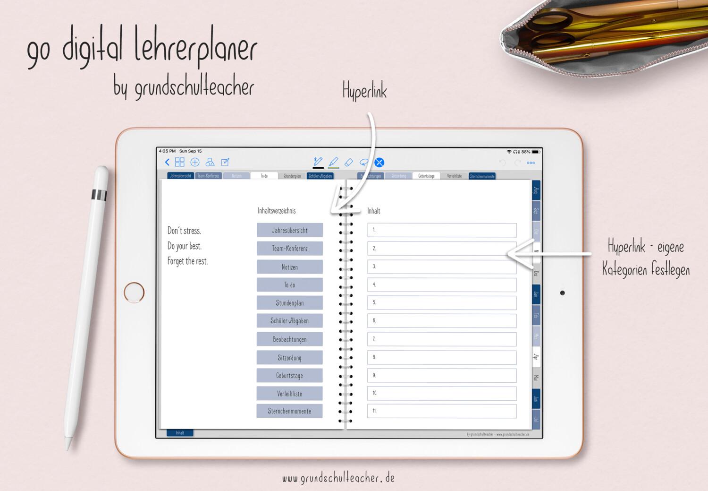 go digital Lehrerplaner 20/21 -   6 Schulstunden blau