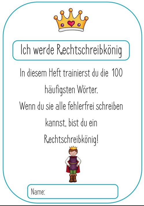 Rechtschreitraining 100 Wörter – Rechtschreibkönig