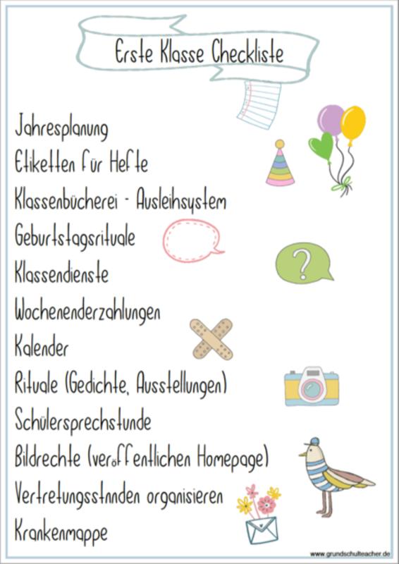 Checkliste Klassenleitung